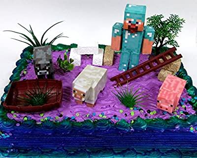 13 Piece MINECRAFT Themed Birthday Cake Topper Set Featuring Minecraft Characters and Decorative Themed Accessories