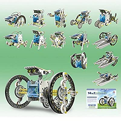 14 in 1 Solar Power Robot Kids Toy DIY Kit Educational Gift a Wagging-tail Dog Running Beetle Walking Crab Surfer Speedster Zombie Chaser
