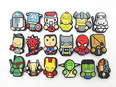 18pc Cute wars star & super hero shoe Charms Fits Croc Shoes & Bracelet Wristband