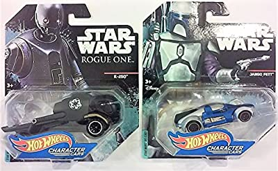 2 (TWO) Hot Wheels Character vehicles. Jango Fett Character Car & Rogue One K-2SO Character Car