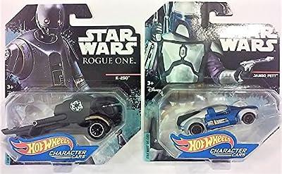 2 (TWO) Hot Wheels Character vehicles. Jango Fett Character Car & Rogue One K-2SO Character Car