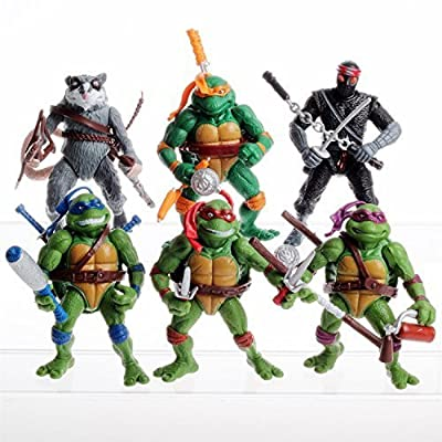 "6PCS Lot 5"" Teenage Mutant Ninja Turtles Anime Movie Action Figures Toy Set (Without original box)"