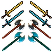 8 Pack - Inflatable jumbo mine pixel craft swords, and axes (4 designs, 2 of each)