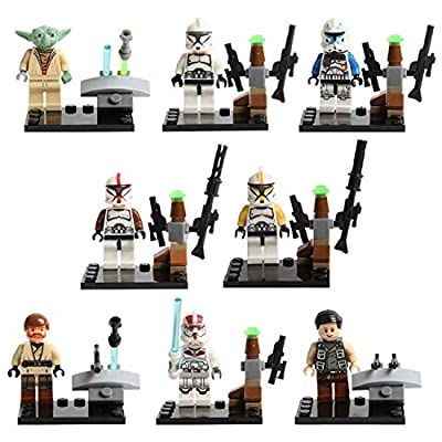 8pcs/set Star Wars Blocks Minifigures Sy195 Star Wars Minifigure Building Blocks with Star Wars Lightsaber Qui-gon Jinn Darth Vader Yoda