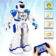 AILUKI Remote Control Robots for Kids - Walking Control RC Robot Infrared Control Toys with LED Light,Singing and Dancing,Moonwalking and Gesture Sensing