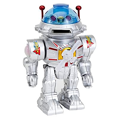 "Bits and Pieces - Amazing Star Defender Robot-Robot Talks, Walks, Shoots Discs, Spinning and Flashing Toy - Defender Robot Measures 9-1/2"" tall x 6-3/4"" wide x 5"" deep"