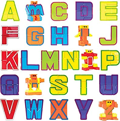 BleuZoo Alphabet Robots Alpha-Bots Educational ABC Letters Preschool Stem Montessori Teaching Toy for Kids Toddlers - 26 Pieces