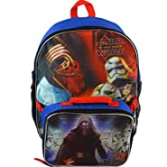 """Boys Star Wars Episode 7 The Force Awakens Large Full Size Backpack and Lunch Bag for School Featuring Stormtrooper & Kylo Ren, Blue/Multicolor, 16"""" x 13"""" x 5"""""""