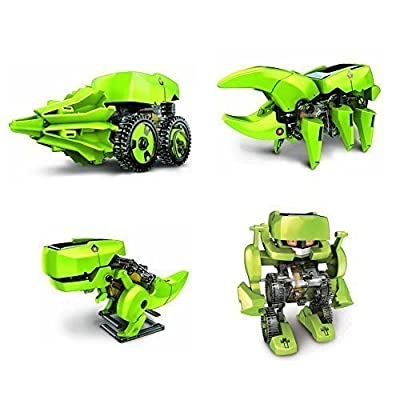 Child & Fun ® T4 Transforming Solar Robot Kit- Robot Insect T-rex Drill Vehicle
