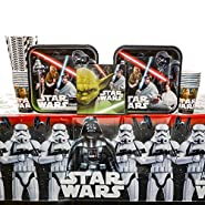 Classic Star Wars Birthday Party Supplies Pack for 16 Guests: Straws, Dinner Plates, Luncheon Napkins, Table Cover, and Cups