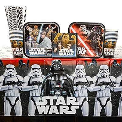 Classic Star Wars Birthday Party Supplies Pack for 16 Guests: Straws, Dessert Plates, Beverage Napkins, Table Cover, and Cups