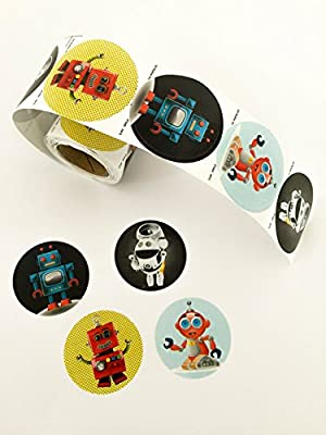 Cute Robot Stickers Roll (100 Quality Stickers In Each Roll) Made In USA
