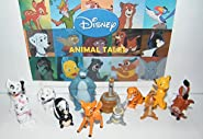 Disney Animal Deluxe Figure Set of 12 with Lion King Simba, Jungle Book Baloo, Shere Khan, Bambi, 101 Dalmatians Puppies, Aristocats Kitten Marie and Many More!