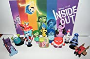 Disney Inside Out Movie Toy Figure Set of 13 with All 5 Emotions, Train of Thought, Bing Bong, Rainbow Unicorn, the Clown Etc and Special ToyRing!