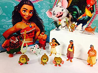 Disney Moana Movie Deluxe Mini Cake Toppers Cupcake Decorations Set with 12 Figures Include Moana, Maui, Pua, Heihei, Tui, Sina, Gramma Tala, Shark and More!