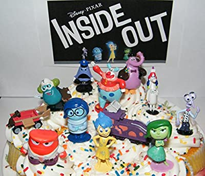 Disney Pixar Inside Out Movie Figure Set Cake Toppers / Cupcake Party Favor Decorations Large Set of 12 with the 5 Emotions, Bing Bong, Rainbow Unicorn, 2 Vehicles and Special Collectible Figure