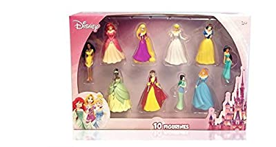 Disney Princess 10 pc Figure Collection Cinderella, Sleeping Beauty, Belle, Ariel, Pocahontas, Tiana, Jasmine, Snow White, Rapunzel, Mulan