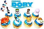 Finding Dory Disney Movie Deluxe Cupcake Topper Figure Set of 8 with 6 Temporary Tattoos