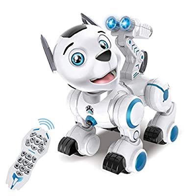 fisca Remote Control Robotic Dog RC Interactive Intelligent Walking Dancing Programmable Robot Puppy Toys Electronic Pets with Light and Sound for Kids Boys Girls