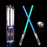 Glow Stick Laser Sword Light Star War, LED Planet Fighters, Galaxy Warriors, 2 in1, Special Party Favor Set for Birthday, Halloween, Christmas, 2 packs (Green and Blue)
