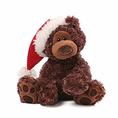 "Gund Fun Christmas Philbin Chocolate Bear 12"" Plush with Santa's Hat"