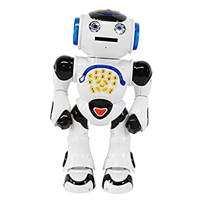 Intelligent New Generation Robot Infrared RC Dance Sing Read Stories Shoot Discs Walking Moving Head Toy White Color
