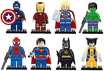 Iron Man Spiderman Superman Batman Hulk Wolverine 8 Mini Figures Set Lego Fit Free, Colorful