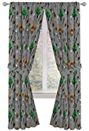 "Jay Franco Minecraft Survive Dark 84"" inch Drapes 4 Piece Set - Beautiful Room Décor & Easy Set up - Window Curtains Include 2 Panels & 2 Tiebacks (Official Minecraft Product)"