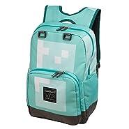"JINX Minecraft Diamond Kids Backpack (Blue, 18"") for School, Camping, Travel, Outdoors & Fun"
