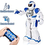 KNGUVTH Remote Control Robots For Kids Girls Boys - RC Funny Children Toys Wireless Smart Robot Control with LED Eyes, Senses Gesture, Speaking, Singing, Dancing, Walking, Sliding and Education