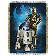 """Lucas Films' Star Wars, Droid Blues Woven Tapestry Throw by The Northwest Company, 48"""" by 60"""""""