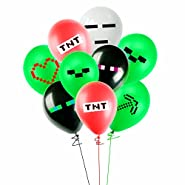 Merchant Medley 21 Count Minecraft-Inspired Pixelated Mining Party Balloon Pack - Large 12 Inch Size Latex - Includes 7 Styles