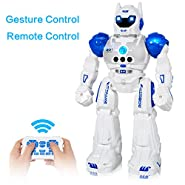 MIBOTE Remote Control Robots for Kids, 2018 Newest Version Smart Gesture Control & RC Remote Control Rechargeable Programmable Robot for Boys Girls Toddler, Walking, Singing, Dancing