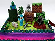 "MINECRAFT 14 Piece Birthday CAKE Topper Set Featuring Random Minecraft Figures and Decorative Themed Accessories, Figures Average 1"" to 3"" Inches Tall"