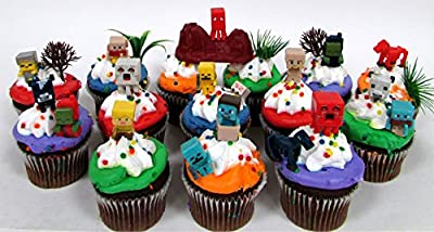 "MINECRAFT 24 Piece Birthday CUPCAKE Topper Set Featuring Mini Minecraft Figures and Decorative Themed Accessories, Figures Average 1/2"" to 1"" Inch Tall"