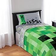 Minecraft Bedding Sheet Set - Pillow Case, Fitted Sheet, and Standard Sheet