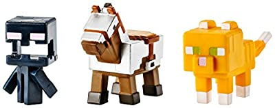 Minecraft Mini Figure 3-Pack, Armored Horse, Screaming Enderman & Tabby Cat