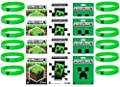 Minecraft Party Bag Fillers - 12 Official Minecraft Creeper Wristbands and 12 Official Mine Craft Stickers