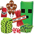 Mining Birthday Party Favor Pack for 14 Guests (Includes favor bags, wristbands, stickers, red stones, balloons & TNT licorice wrappers for 14 guests and Bonus TNT bag for birthday child)