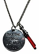 New Horizons Production Star Wars May The Force Be With You Red Lightsaber Charms Pendant Necklace
