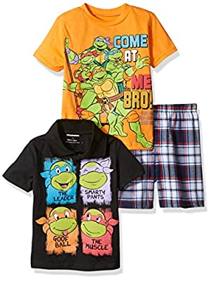 Nickelodeon Big Boys' Teenage Mutant Ninja Turtle 3 Piece Tee and Plaid Short Set