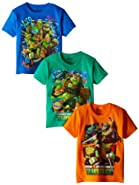 Nickelodeon Little Boys' Ninja Turtles 3 Pack T-Shirts, Assorted, 5/6