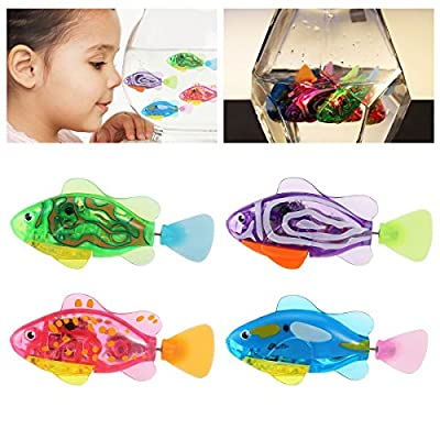 NUOLUX 4pcs Robot Fish Swimming Electric Clownfish Battery Powered Toy(Random Color)