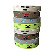 Pixel Mine Crafter Style Character Wristbands (8 Pack)- Pixel Style Video Game Designs - Spider, Creeper, Skeleton, Diamond - 2 of Each Style