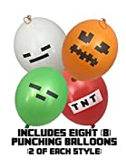 Punch Balloons - Pixel Miner Style Kid's 16-inch (8-Pack) - Includes Green Zombie, White Skeleton, Red TNT, Orange Jack O Lantern
