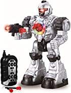 Remote Control Robot Toy - Robots For Kids Superb Fun Toy - Toy Robot Shoots Missiles Walks Talks & Dances With Flashing Lights 10 Functions - Best RC Robot Gift For Boys And Girls -Original By Play22