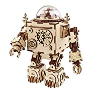 ROBOTIME 3D Puzzle Music Box Wooden Craft Kit Robot Machinarium Toy with Light for Adults and Kids