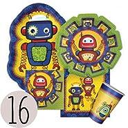 Robots - Party Tableware Plates, Cups, Napkins - Bundle for 16