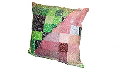 """Sequin Pillow Minecraft Inspired Case Toy Changes Color - Holographic Pig Creeper Videogame Toy, Plush Sequin Pillow Cover Kids All Ages 16"""" x 16"""""""