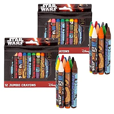 Star Wars Crayons 2 Jumbo Packs. 12 Crayons per pack. Uniquely Designed Crayons. Star Wars Crayons from the movie: The Force Awakens.